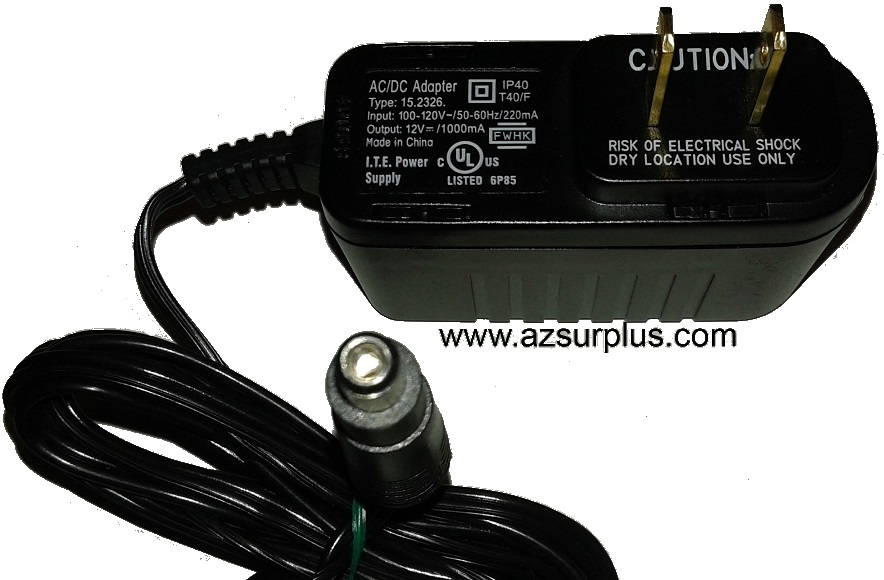 15.2326 AC ADAPTER 12VDC 1000mA -(+) Used 2.4 x 5.5 x 8.3.5mm