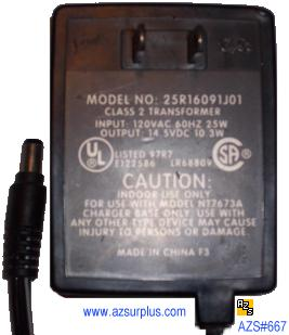 25R16091J01 AC ADAPTER 14.5V DC 10.3W CLASS 2 TRANSFORMER POWER