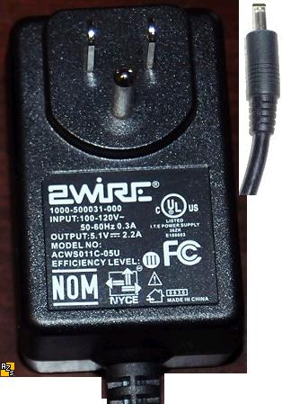 2WIRE ACWS011C-05U AC ADAPTER 5.1VDC 2.2A Used 1.5x4 mm ROUTER M
