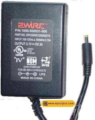 2WIRE GPUSW0512000GD1S AC ADAPTER 5.1VDC 2A -(+) 1.5x4mm 100-240