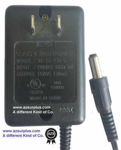 35-15-150 C AC ADAPTER 15VDC 150mA USED -(+) 2x7xmm Round Barrel