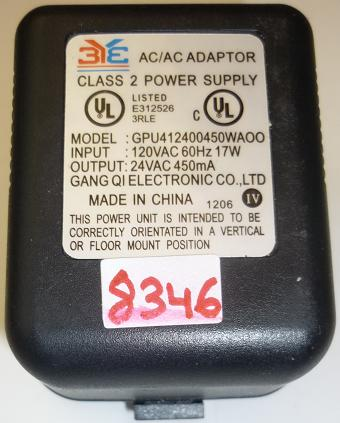 3YE GPU142400450WAOO AC ADAPTER 24VAC 350mA USED ~(~) 2PIN DIN F