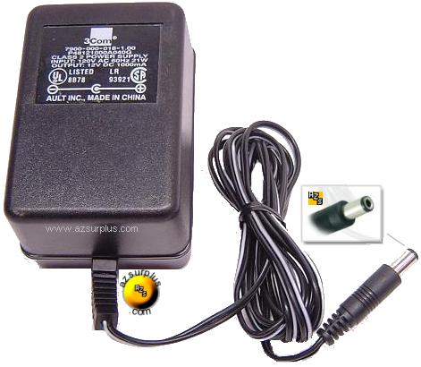 3Com P48121000A040G AC ADAPTER USED 12VDC -(+) 2.5x5.5mm ROUND B