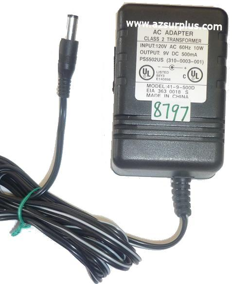41-9-500D AC ADAPTER 9VDC 500mA USED -(+) 2.5x5.5x11.8mm ROUND B