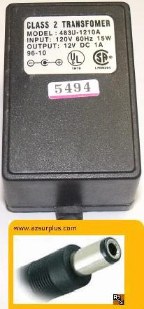 483U-1210A AC ADAPTER 12V 1A CLASS 2 TRANSFORMER