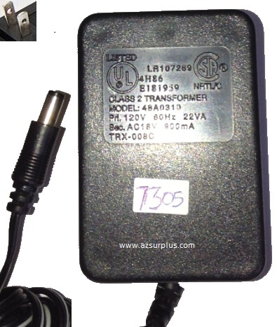 48A0310 AC ADAPTER AC 18V 900mA USED 2x5.5x10.3mm -(+)- Round Ba