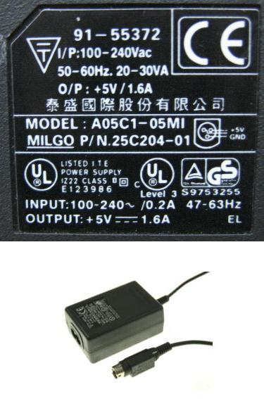 A05C1-05MI AC ADAPTER +5V 1.6A USED 3-DIN PIN CONNECTOR