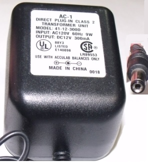 AC-1 41-12-300D AC ADAPTER 12VDC 300mA POWER SUPPLY DIRECT PLUG