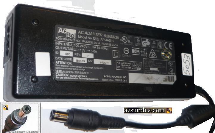 ACBEL API4AD19 AC ADAPTER 15VDC 5A LAPTOP POWER SUPPLY