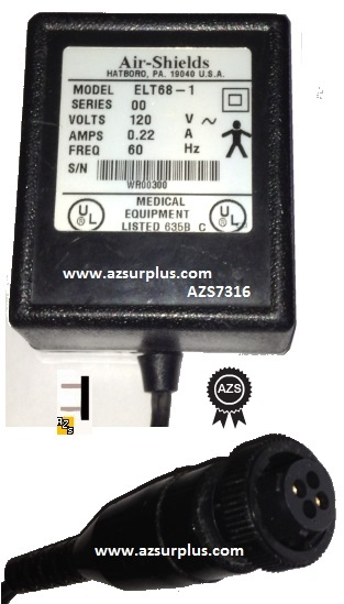 AIR-SHIELDS ELT68-1 AC ADAPTER 120V 0.22A 60Hz 2-PIN CONNECTOR P
