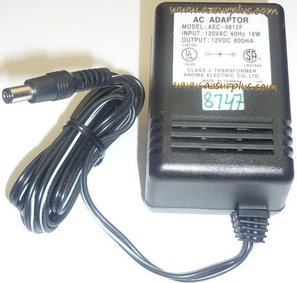 ANOMA AEC-4812F AC ADAPTER 12VDC 800mA USED -(+) 2x5.5x9.7mm ROU