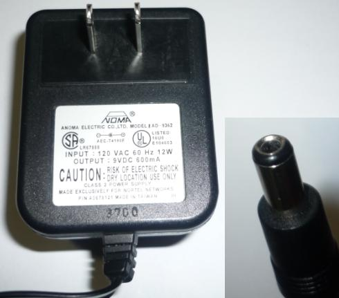 ANOMA ELECTRIC AD-9632 AC ADAPTER 9VDC 600mA 12W POWER SUPPLY