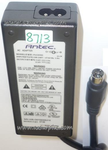 ANTEC PAG0302 AC ADAPTER 5V 1.5A 12VDC 1.8A USED 4PIN DIN 9.3mm
