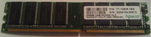 APACER 77.10636.19G 256MB DDR Memory Ram used working