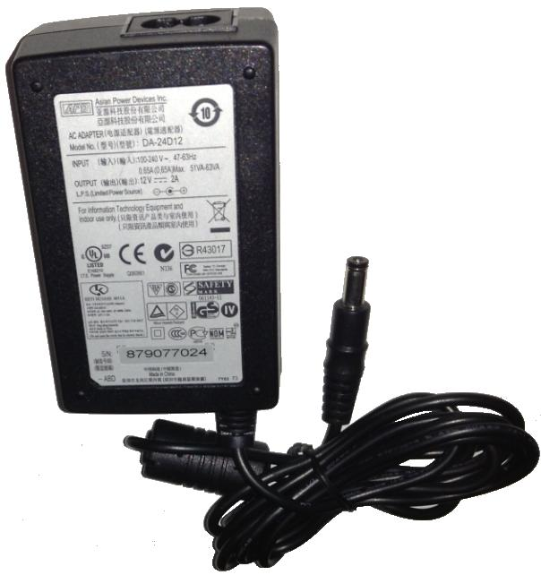 APD ASIAN POWER DEVICES DA-24D12 AC ADAPTER 12VDC 2A Used 2x5.5m