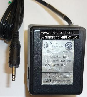 APF 415 AC ADAPTER 4.5VDC 150mA USED PIN POWER SUPPLY 117VAC 60