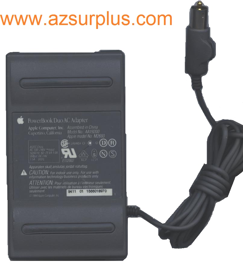 APPLE POWERBOOK DUO AA19200 AC ADAPTER 24VDC 1.5A Used 3.5 mm Si