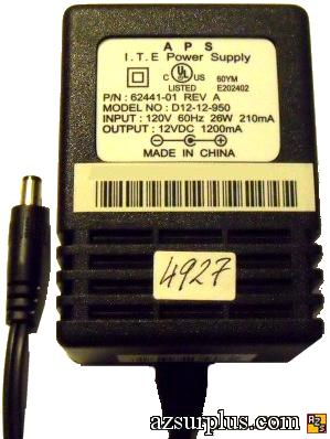 APS D12-12-950 AC ADAPTER 12VDC 1200mA USED -(+)- 2.5x5.5mm E202
