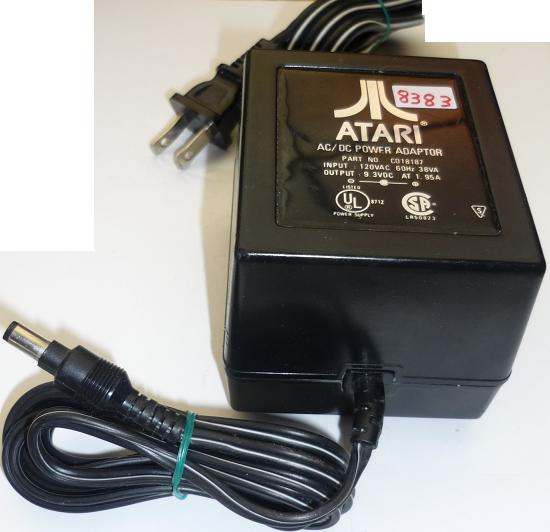 ATARI C018187 AC ADAPTER 9.3VDC 1.95A USED -(+) 3x5.5mm ROUND BA