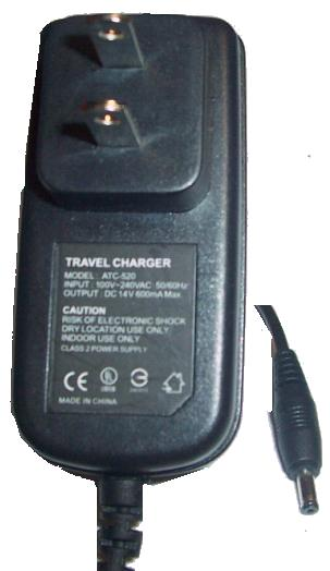 ATC-520 DC ADAPTER USED 1x3.5 TRAVEL CHARGER 14V 600mA