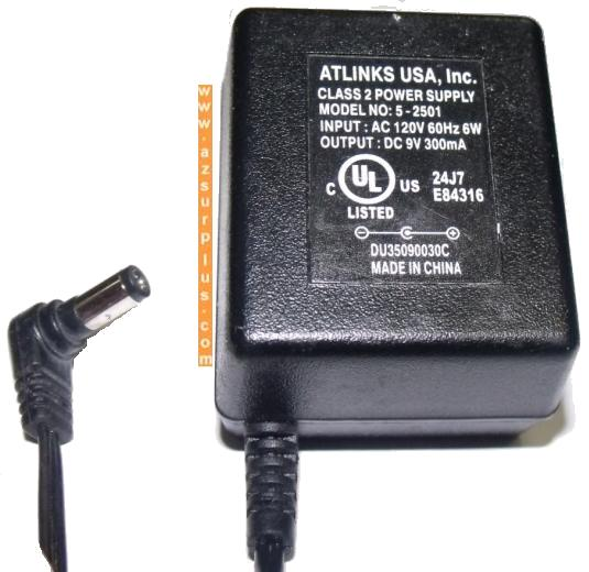 ATLINKS 5-2501 AC ADAPTER 9VDC 300mA USED -(+) 2x5.5mm ROUND BAR