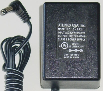ATLINKS 5-2521 AC ADAPTER 12VDC 450MA USED 2 x 5.5 x 10mm