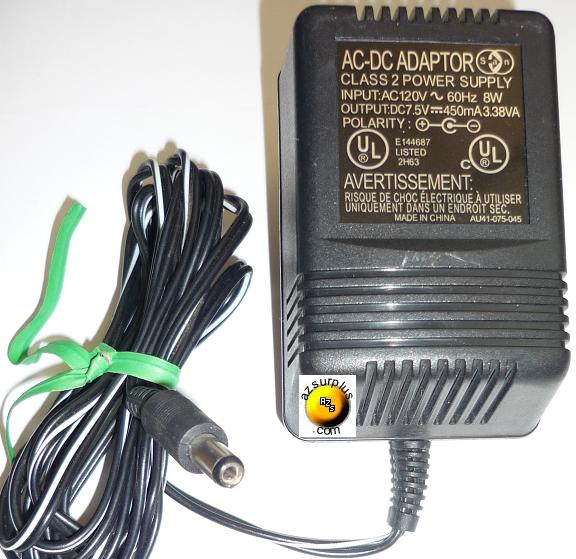 AU41-075-045 AC ADAPTER 7.5VDC 450mA 3.38VA USED +(-) 1.8x5.5mm