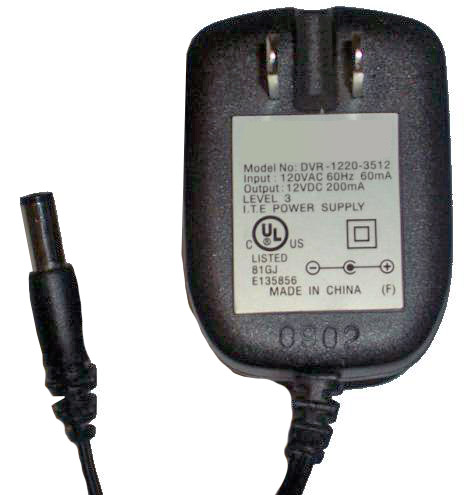 AUDIOVOX DVR-1220-3512 AC ADAPTER 12VDC 200mA USED -(+)- 2x5.5mm