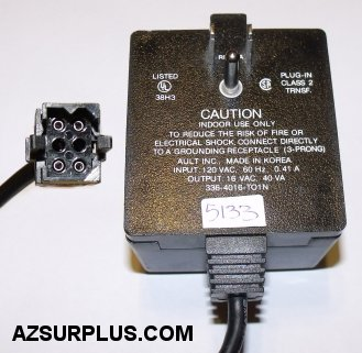 AULT 336-4016-TO1N AC ADAPTER 16V 40VA USED 6PIN FEMALE MEDICAL