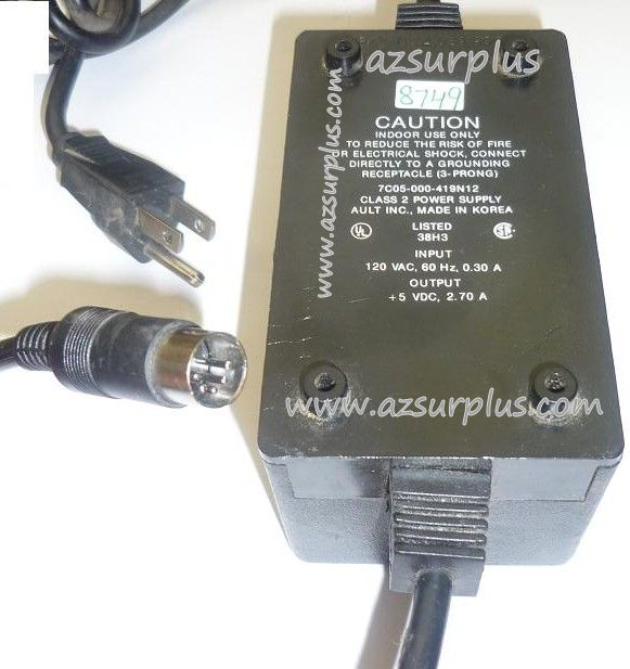 AULT 7C05-000-419N12 AC ADAPTER +5VDC 2.70A USED 5PIN 13.8mm CLA