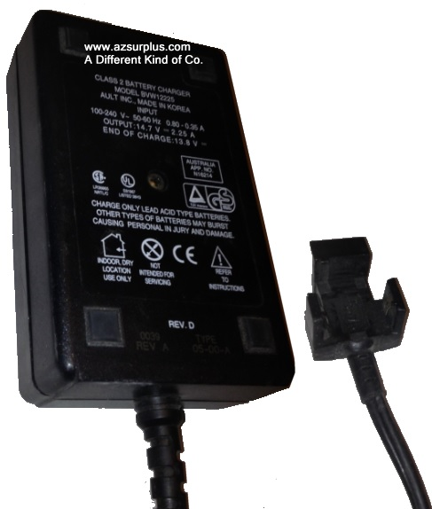 AULT BVW12225 AC ADAPTER 14.7vdc 2.25A Used SAFCO Snap on Connec