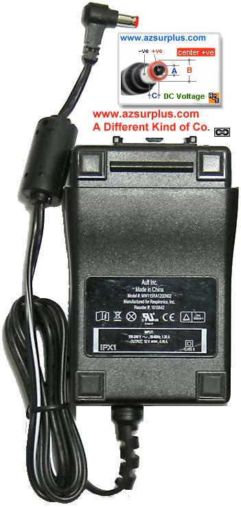 Ault MW115RA1200N02 AC ADAPTER 12VDC 4.16A USED -(+)- 2.5x5.5mm