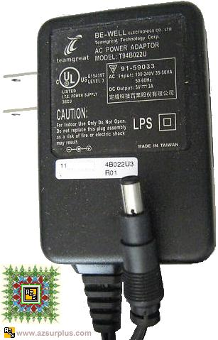 BE-WELL T94B022U AC ADAPTER 5VDC 3A Genuine SWITCHING AC ADAPTOR