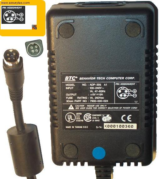 BTC ADP-305 A1 AC ADAPTER 5VDC 6A POWER SUPPLY