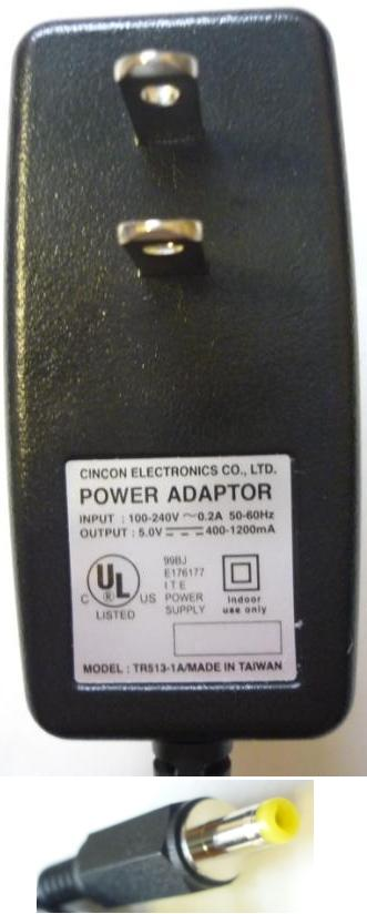 CINCON TR513-1A AC ADAPTER 5V 400mA TRAVEL CHARGER