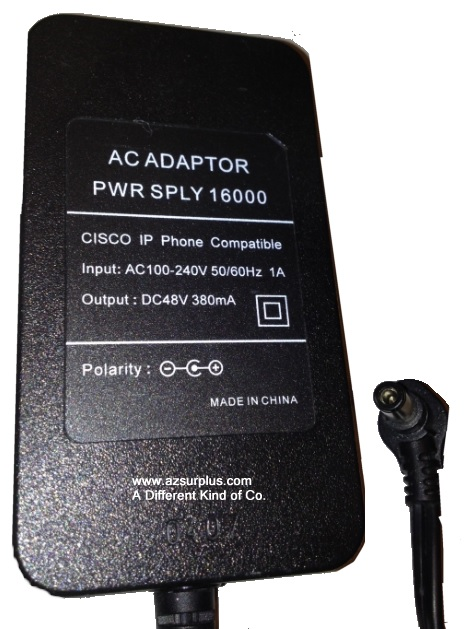 CISCO 16000 AC ADAPTER 48VDC 380mA Used -(+)- 2.5 x 5.5 x 10.2 m