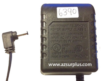 COMPONENT TELEPHONE UD090040B AC ADAPTER 9VDC 400mA USED