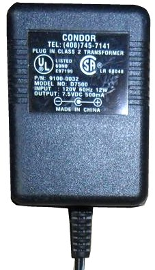 CONDOR D7500 AC ADAPTER 7.5VDC 500mA USED -(+) 1.2x3.5mm 90° POW