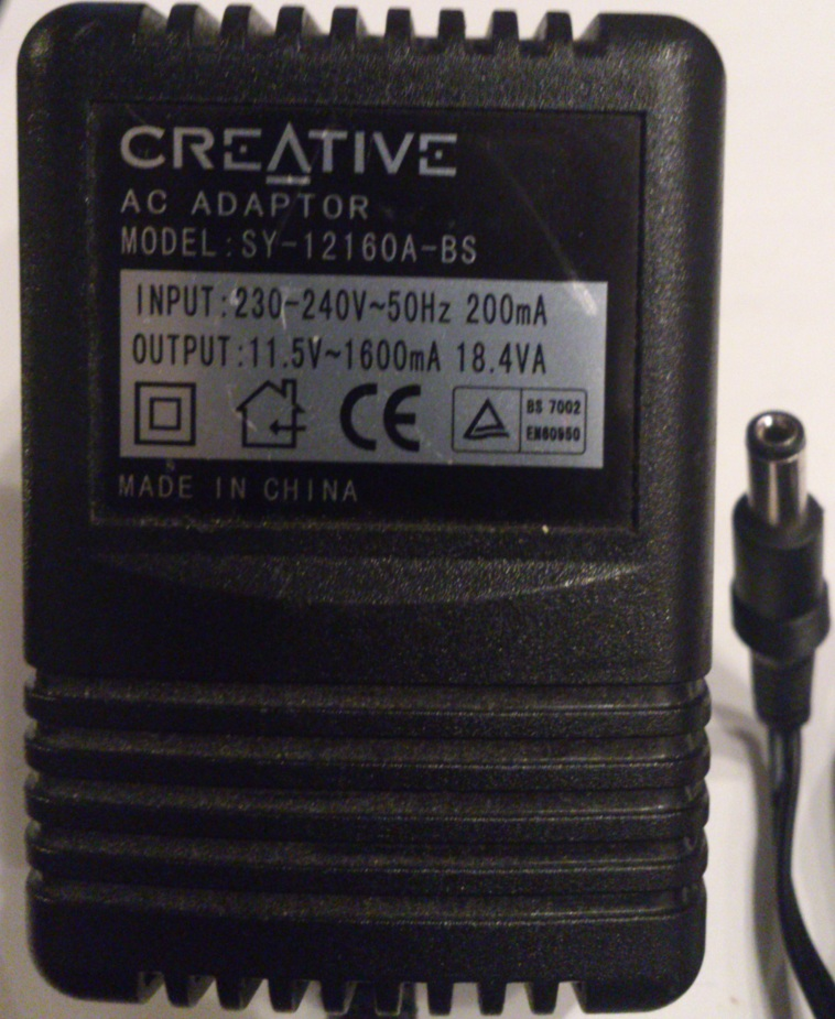 CREATIVE SY-12160A-BS AC ADAPTER 11.5V 1600mA Used 2x5.5mm UK PL