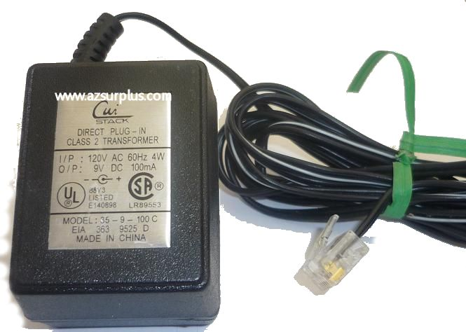 CUI STACK 35-9-100 C AC ADAPTER 9VDC 100mA USED -(+) ETHERNET RJ