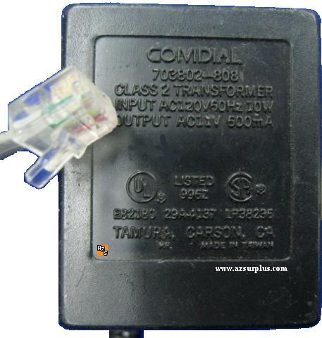 Comdial 703802-808 AC Adapter 11Vac 600mA 10W Telephone Power Su