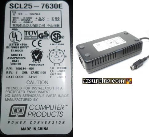 Computer Products SCL25-7630E AC DC adapter +5V 2A -30V 0.3A Pow