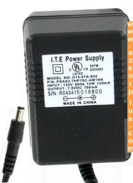 D75-07A-950 AC ADAPTER 7.5VDC 700mA ITE POWER SUPPLY