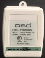 DSC PTC1620U Power Transformer 16.5VAC 20VA USED SCREW TERMINAL