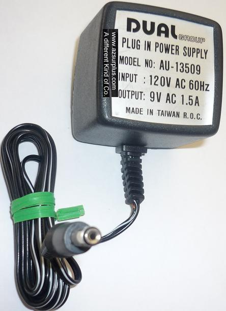 DUAL GROUP AU-13509 AC ADAPTER 9V 1.5A USED 2x5.5x12mm SWITCHING