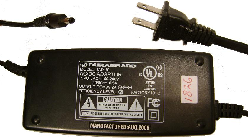 DURABRAND TAD-10 AC DC Adapter 9V 2A Power Supply for Portable D