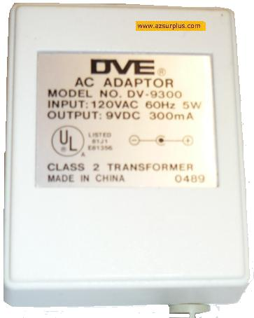 DVE DV-9300 AC ADAPTER 9V 300mA POWER SUPPLY CLASS 2 TRANSFORMER