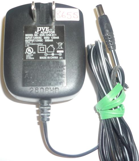 DVE DVR-1250-B11 AC ADAPTER 12VDC 500mA USED -(+) 2x5.5x9.4mm RO