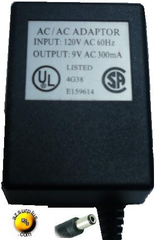 E159614 AC ADAPTER 9V DC 300mA DIRECT PLUG IN POWER SUPPLY