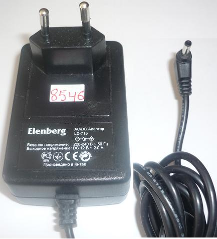 ELENBERG LD-715 AC ADAPTER 12VDC 2A USED -(+) 1.1x3.5mm EUROPE P